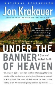 book cover for under the banner of heaven by Jon Krakauer