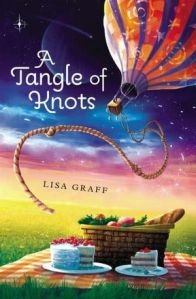 book cover for a tangle of knots by lisa graff